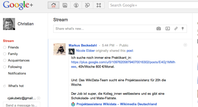 Gekommen, um zu bleiben: Google +