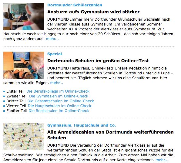 """Schulen in Dortmund - das erste große datenjournalistische Projekt der Lokalredaktion der """"Ruhr Nachrichten""""."""