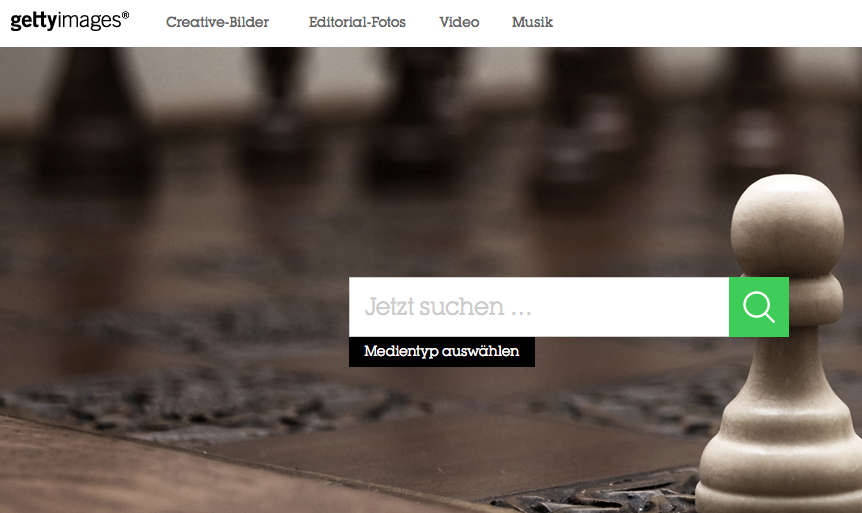 Die Webseite von Getty Images: 35 Millionen Fotos stehen zum kostenlosen Einbinden bereit. (Screenshot: Jakubetz)