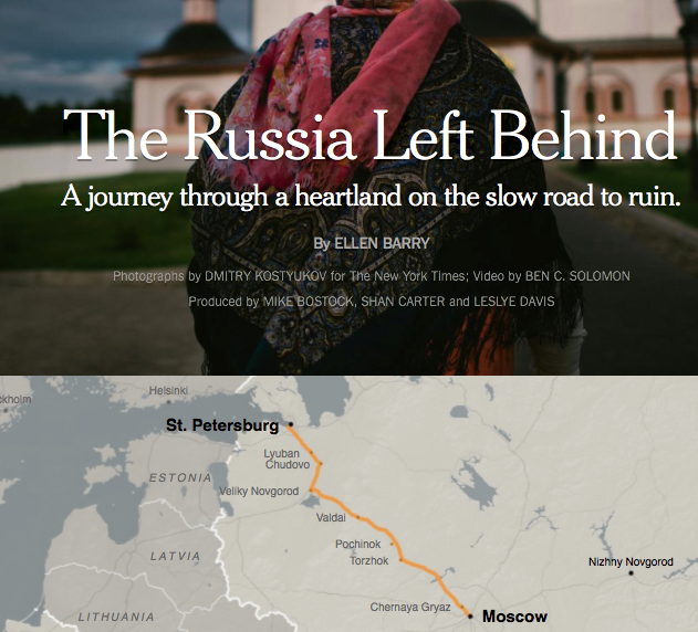 "Paradebeispiel für Long-form-Journalismus: ""The Russia left behind"" in der New York Times. (Screenshot: Jakubetz)"