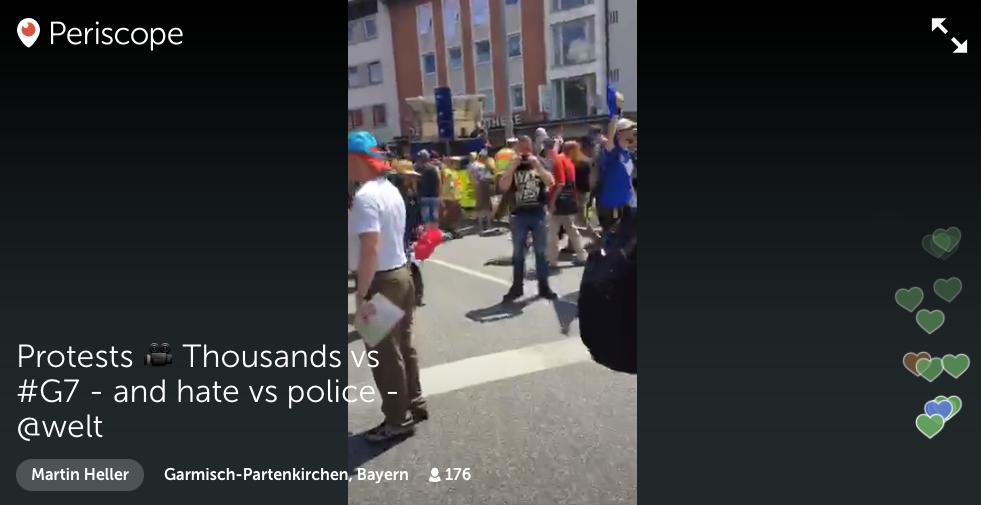 """Live vom Gipfel: Wie hier die """"Welt"""", haben sich beim G7-Gipfel etliche Medien am vergleichsweise jungen Thema Livestreaming versucht. (Screenshot: Jakubetz)"""