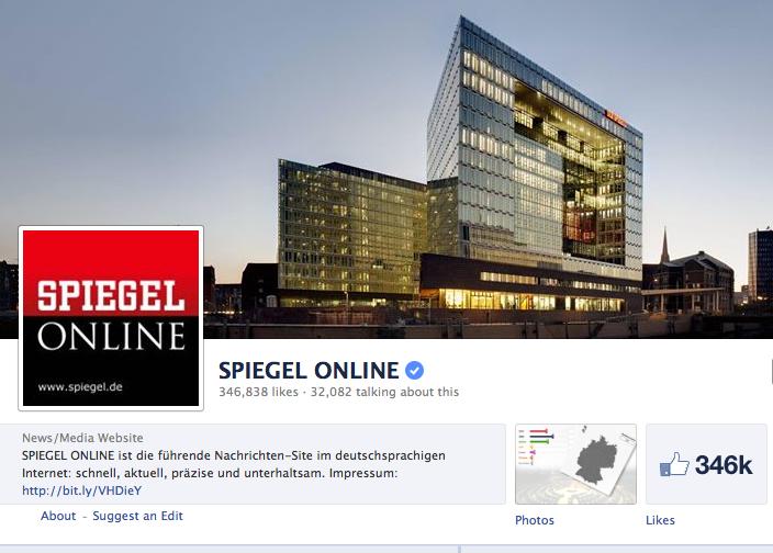 Beliebteste Nachrichtenquelle im sozialen Netz: Spiegel Online.