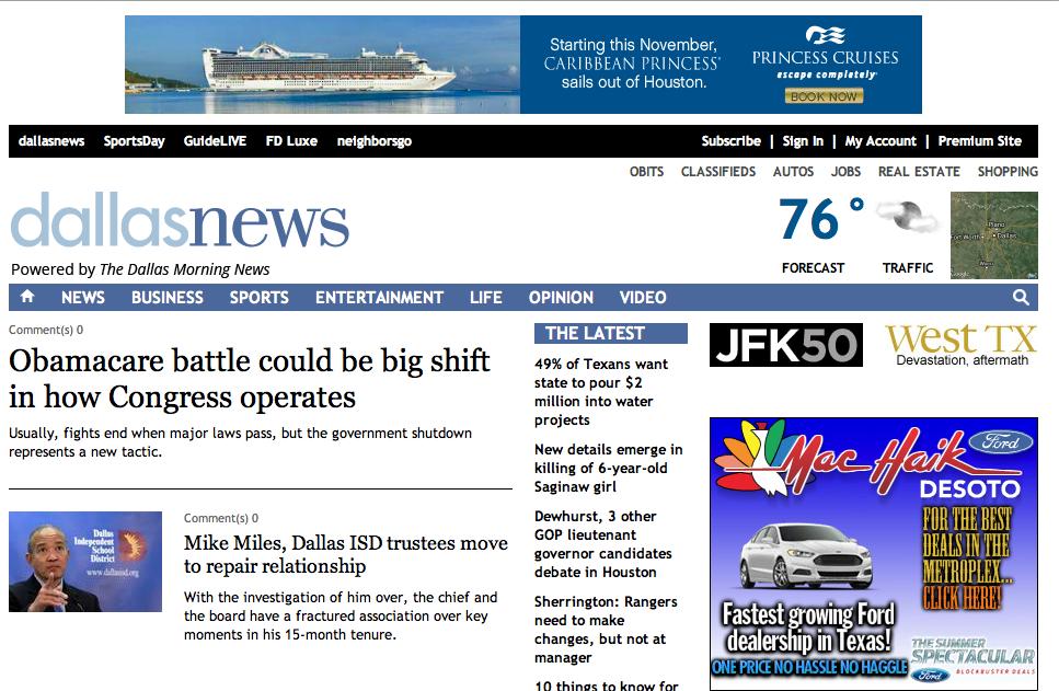 """Jetzt soll´s doch wieder eher die Werbung richten: die """"Dallas Morning News"""" reißen ihre Paywall ein."""