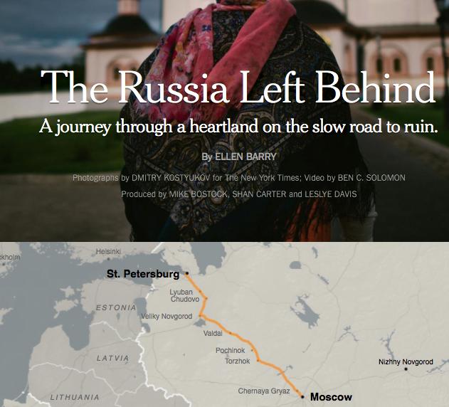 """Paradebeispiel für Long-form-Journalismus: """"The Russia left behind"""" in der New York Times. (Screenshot: Jakubetz)"""