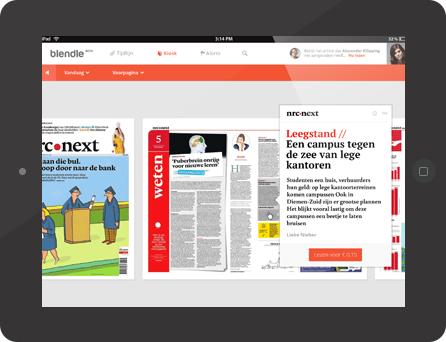 """Der digitale Zeitungs-Kiosk """"Blendle"""": eine Mischung aus iTunes und Facebook. (Screenhso: blendle.nl)"""